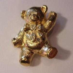 Avon Gold Tone Teddy Bear Pin/Pendant